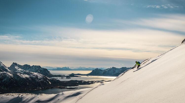 Abfahrt Bis Zum Fjord Auf Den Lofoten Inseln Mit Bergfu Hrer