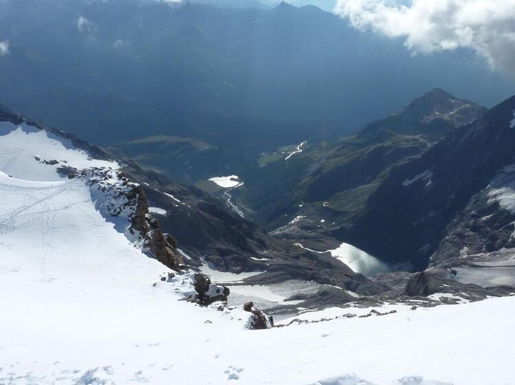 Abstieg Vom Gipfel Des Palue Zum Skidepot