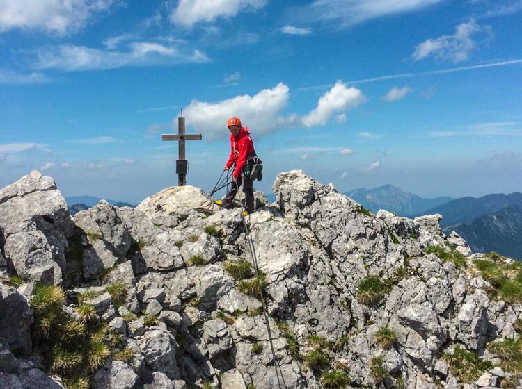 Am Gipfel Beim Kletterkurs
