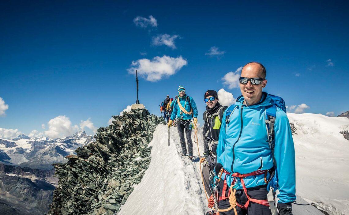 Am Gipfel Des Allalinhorn In Der Schweiz