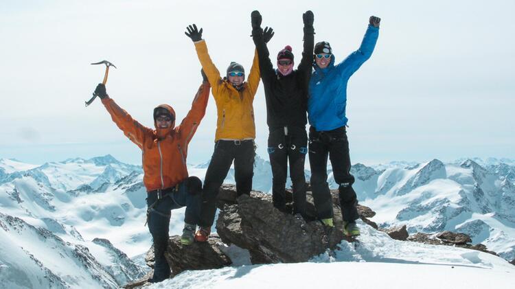Am Gipfel Des Cevedale Auf Der Skitourenwoche Um Die Zufallhu Tte