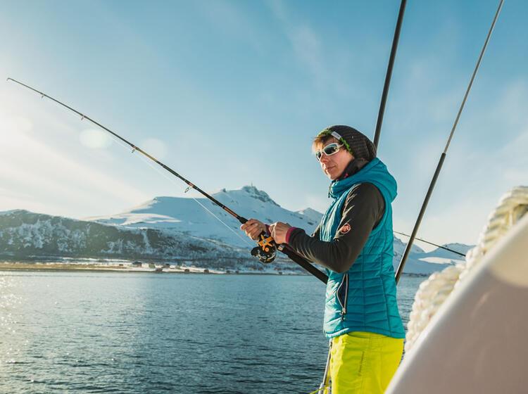 Angeln Im Lyngenford Auf Der Skitouren Reise Vom Schiff