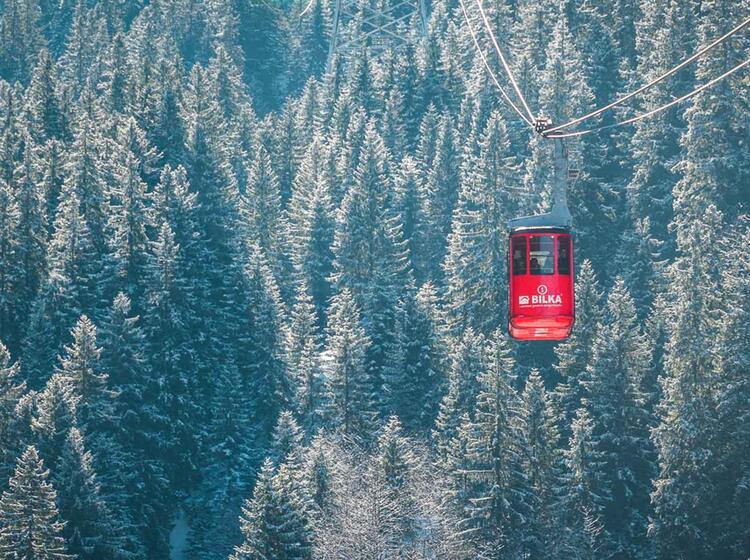 Auffahrt Mit Der Gondel Zur Huette Balea Lac Auf Der Skitourenreise Rumaenien 1