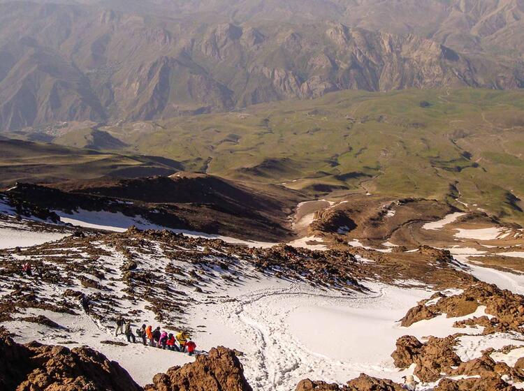 Aufstieg Bei Der Trekkingtour Zum Damavand