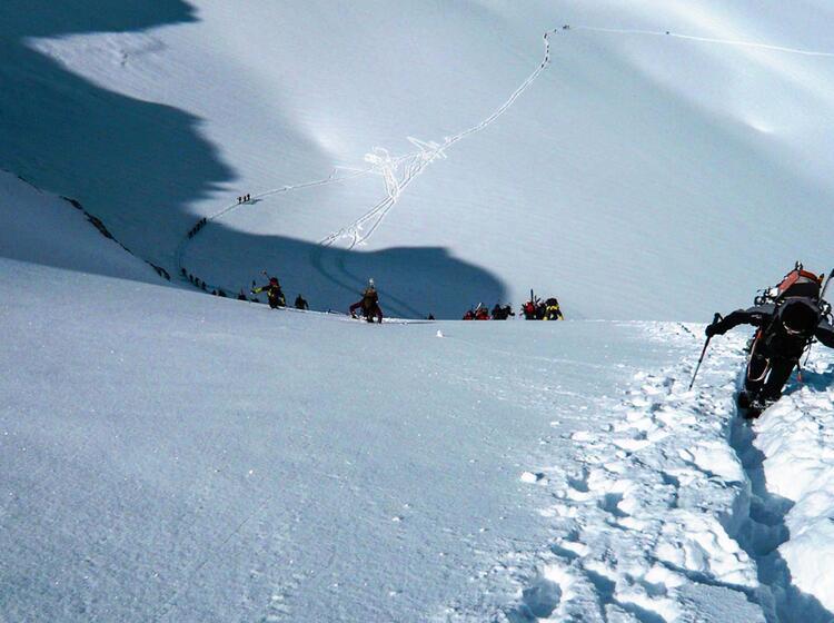 Aufstieg Mont Blanc Mit Ski
