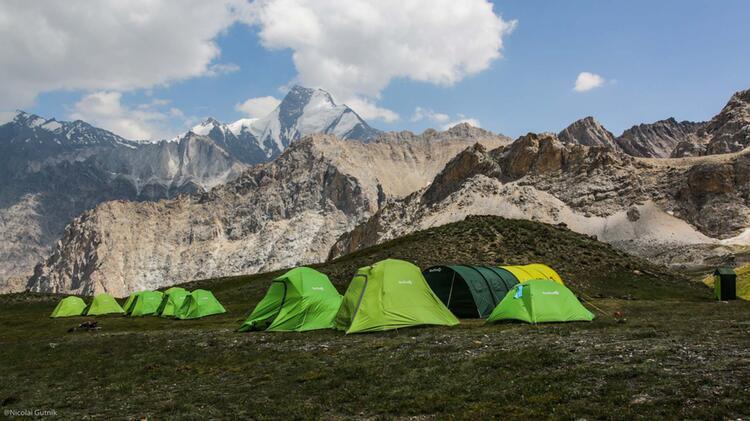Basislager Beim Zelttrekking In Kirgistan