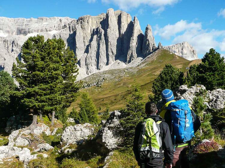 Bergwandern In Den Dolomiten Am Sellapass