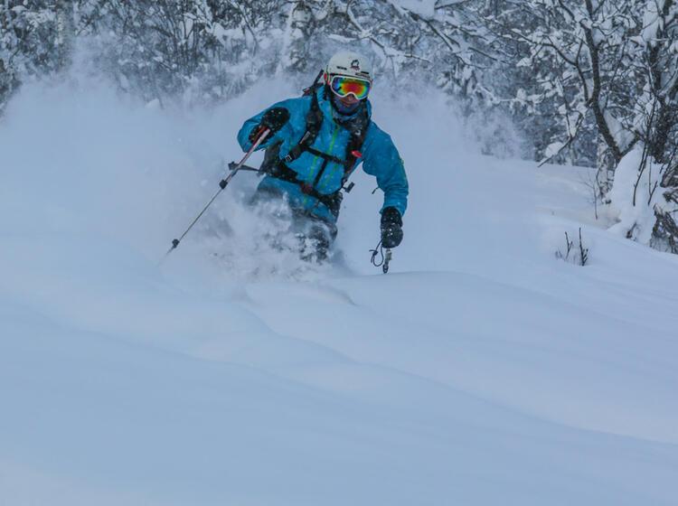 Bester Pulverschnee Bei Den Abfahrten In Sibirien Altai Auf Der Skitouren Reise