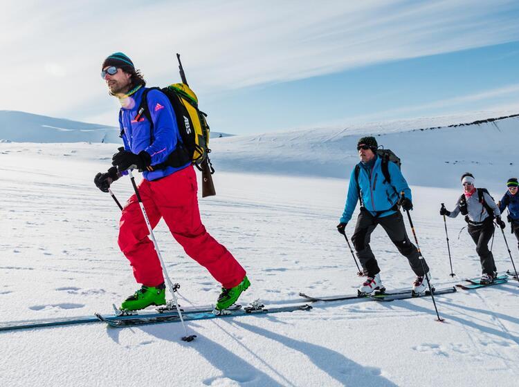 Bewaffnet Auf Skitour In Spitzbergen Zur Abwehr Von Eisbaeren