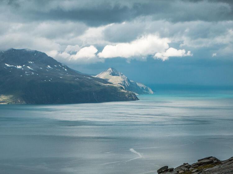 Blick Auf Die Lyngeninsel Beim Wandern Am Storhaugen Norwegen
