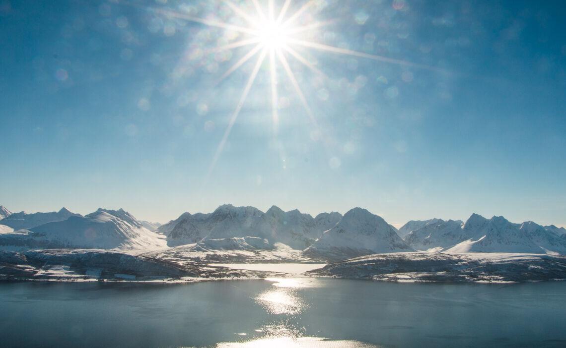 Blick Auf Lyngen Bei Der Ski Und Sail Tour