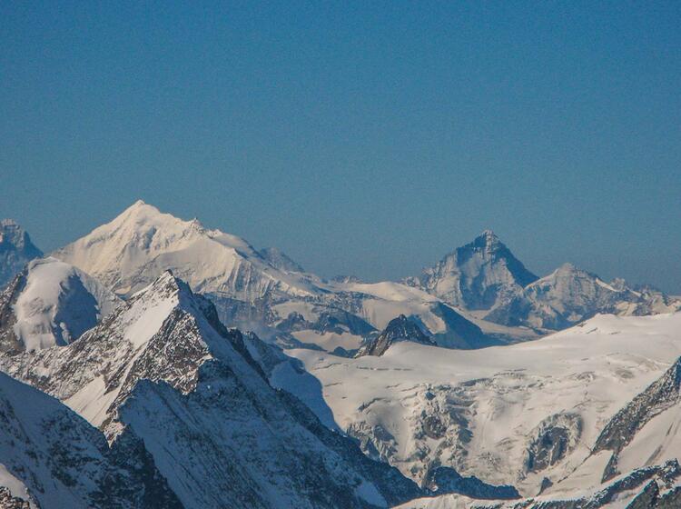 Blick Ins Wallis Zum Weisshorn Und Matterhorn Von Der Gletscherwanderung