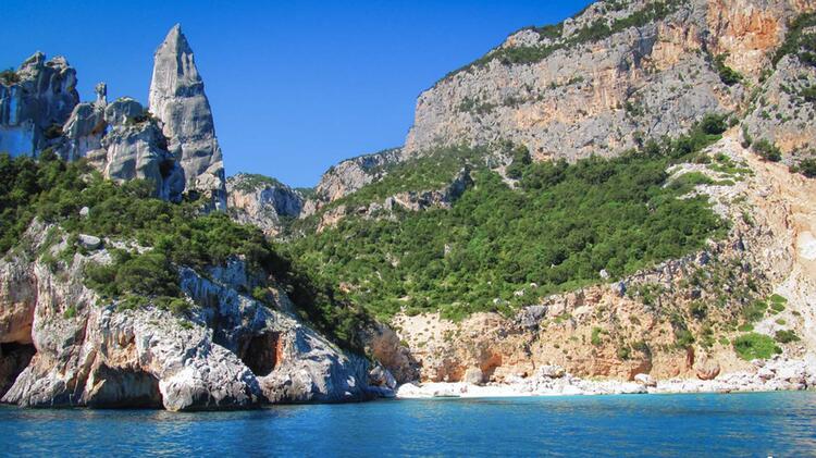 Blick Vom Meer Auf Die Bucht Der Cala Goloritze Beim Segeln Klettern Auf Sardinien