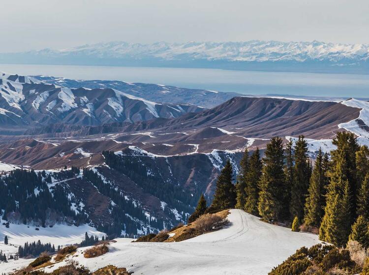 Blick Von Der Skitour Auf Den Ssyk Kul