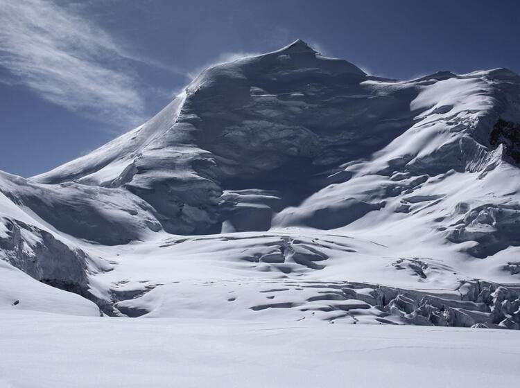 Blick Zum Gipfel Des Himlung Auf 6100m