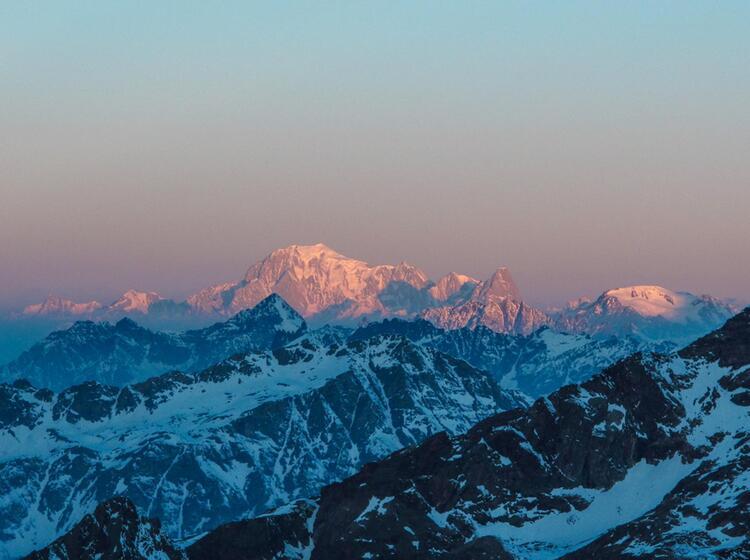 Blick Zum Mont Blanc Beim Fru Hen Start Auf Skitour