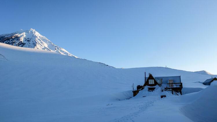 Das Avacha Camp In Kamtschatka Auf Der Skitourenreise