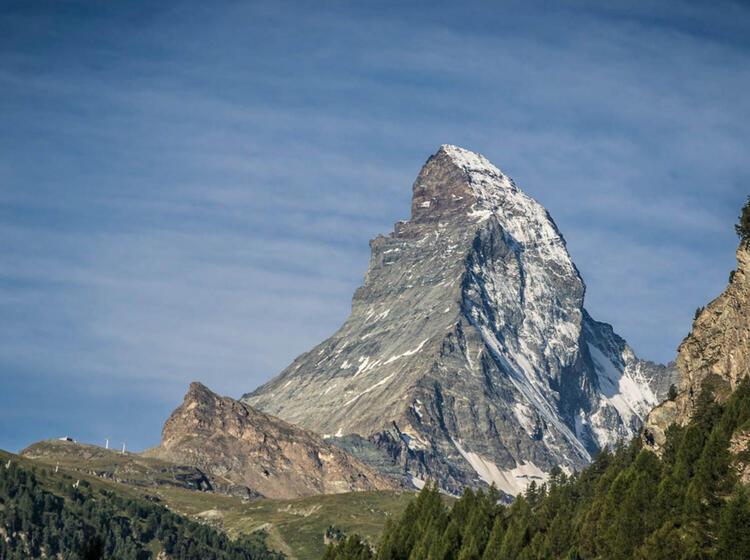 Das Matterhron In Voller Pracht Von Zermatt Aus Gesehen