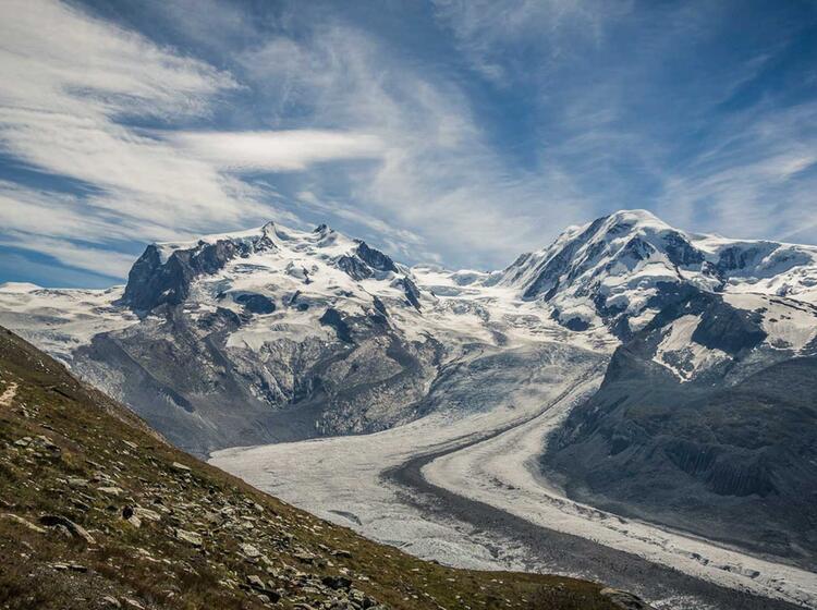 Das Monterosa Massiv Von Zermatt Gesehen