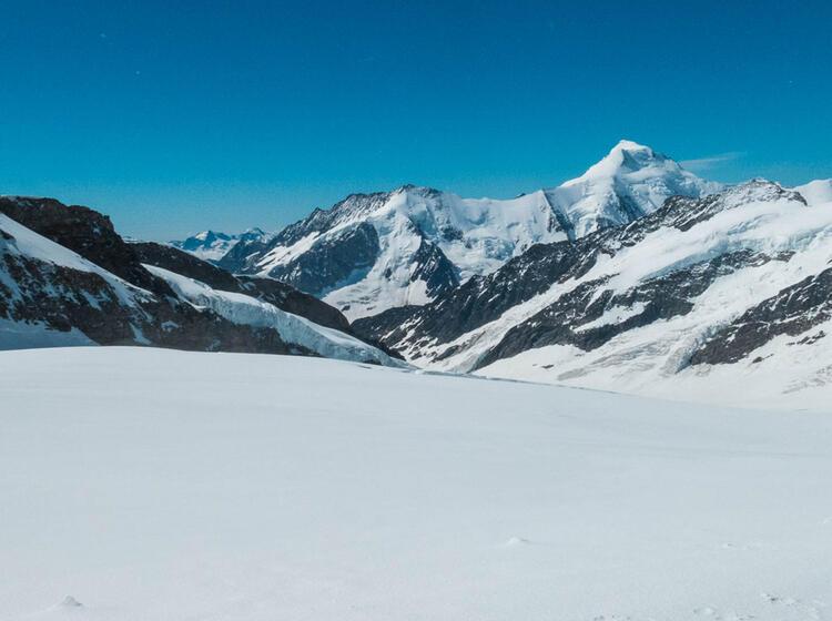 Der Aletsch Gletscher Mit Dem Markanten Aletschhorn Im Hintergrund