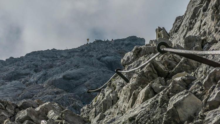 Der Gipfel Der Zugspitze Ganz Nah Auf Dem Hoellental Klettersteig