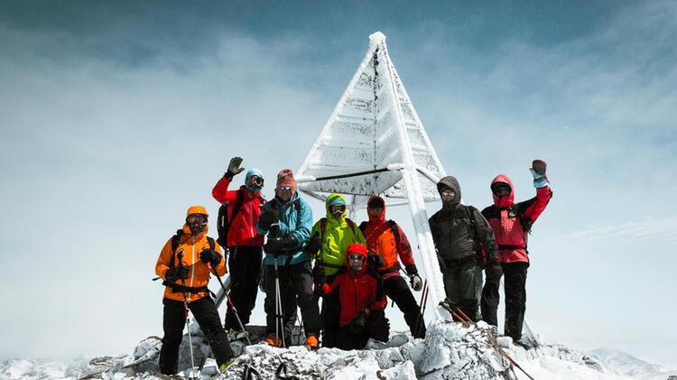 Der Gipfel Des Toubkal In Marokko Mit Ski