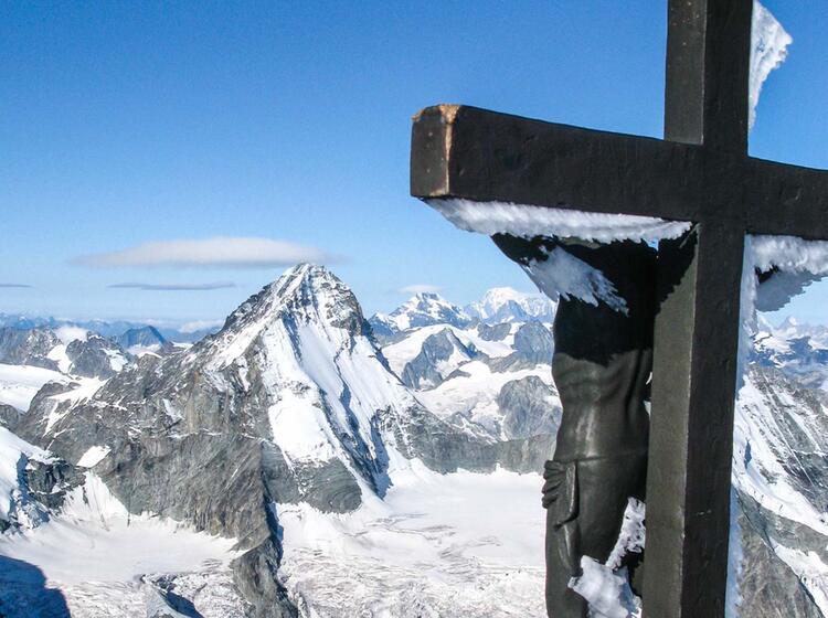Der Gipfel Des Zinalrothorn Und Im Hintergrund Das Obergabelhorn