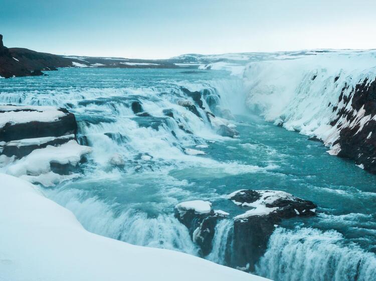 Der Gulfoss Wasserfall Auf Der Skitouren Reise Island