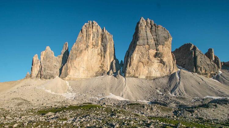 Die Drei Zinnen Auf Der Kletter Fuehrung Dolomiten