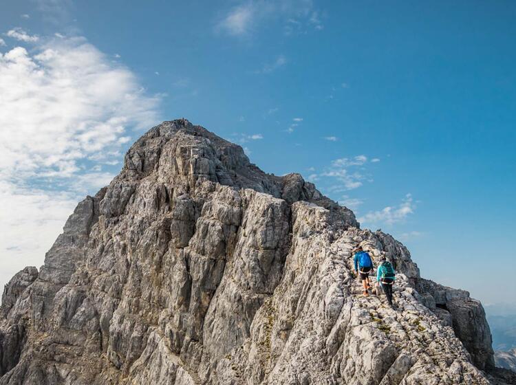 Die Steilste Stelle Am Watzmanngrat Ist Kurz Vor Dem Gipfel Der Suedspitze