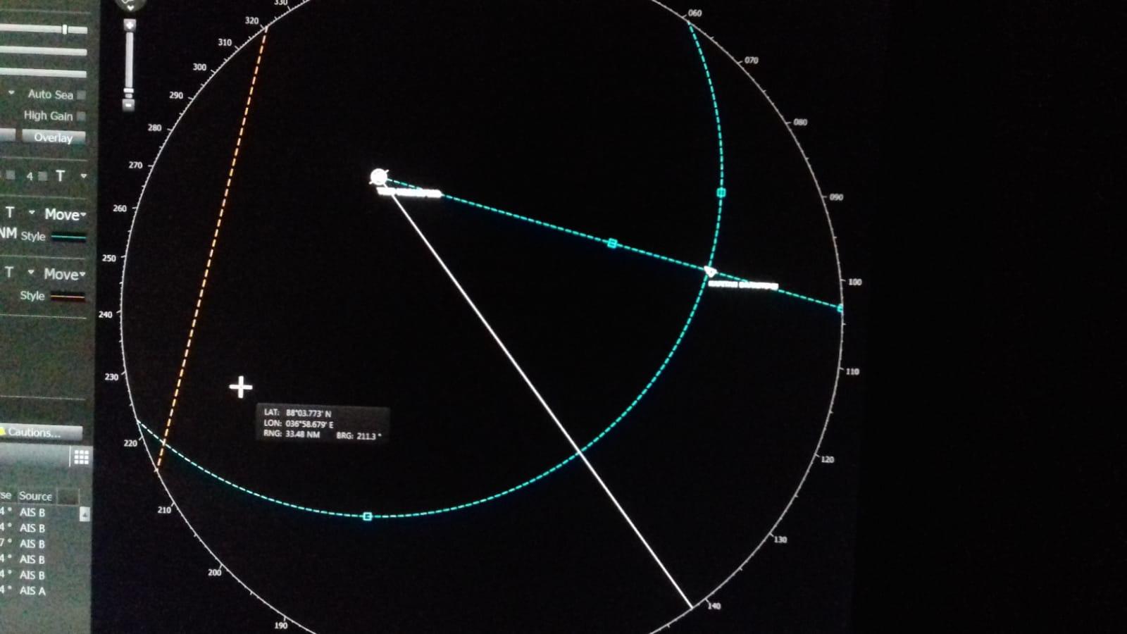 Distanz der Dranitzyn zur Polarstern am 25.02.2020