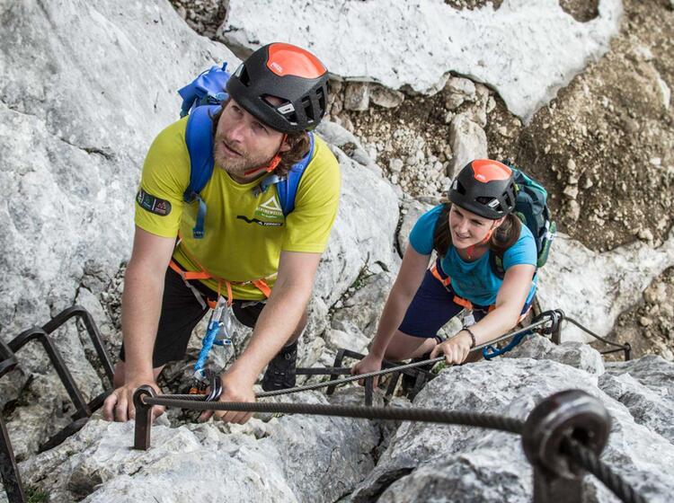 Erste Klettersteig Passagen An Der Alpspitze Via Ferrata