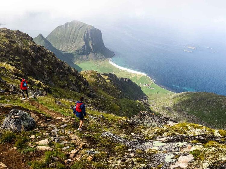 Gigantische Weitblicke Auf Den Gipfeln Der Lofoten