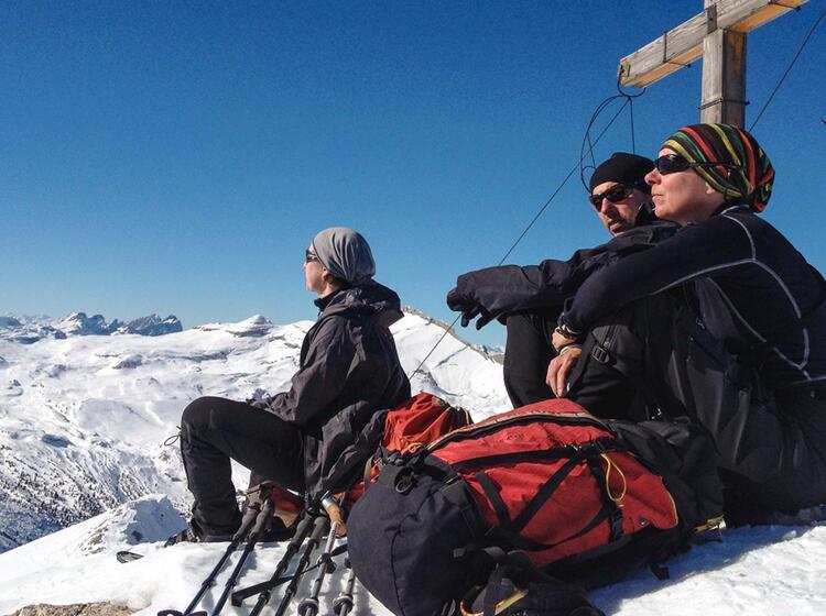 Gipfel Rast In Der Fanes In Den Dolomiten