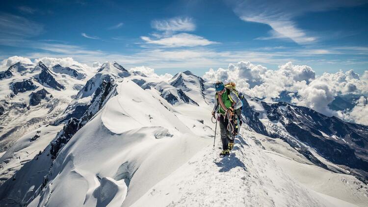 Gipfelgrat Im Wallis Auf Der Hochtouren Durchquerung Mit Bergfuehrer