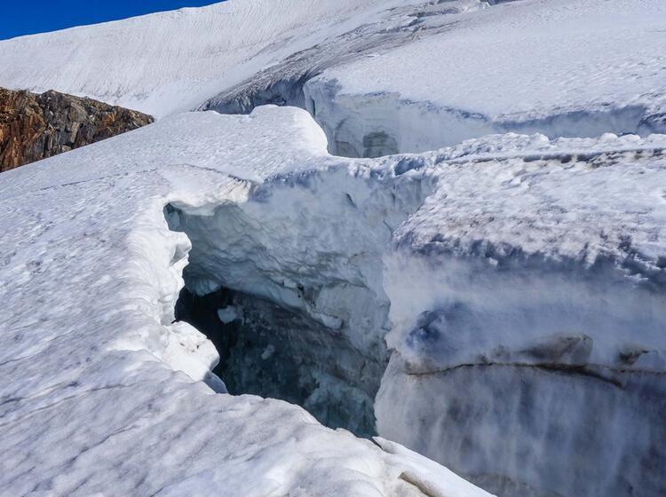 Gletscherspalte An Der Wildspitze Im Oetztal