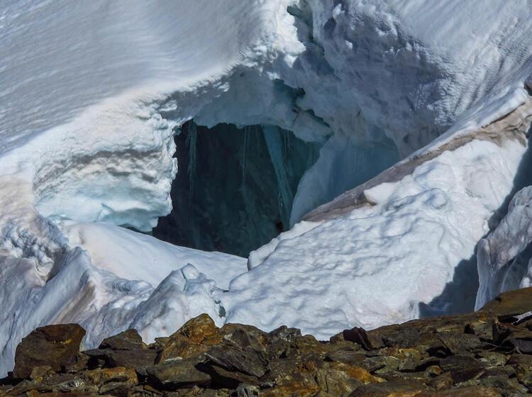 Gletscherspalte Auf Der Gletscher Durchquerung Im Berner Oberland