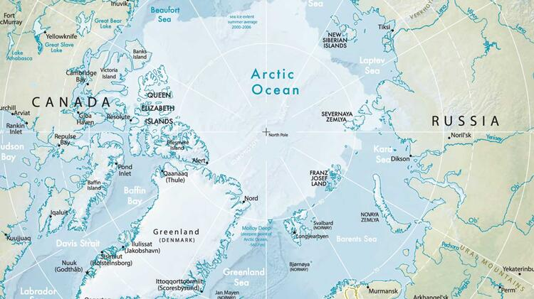 Kartenausschnitt Arktis Nordpol