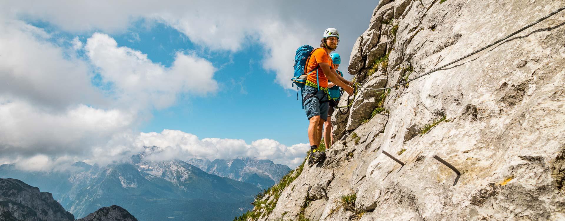 Klettersteig Kurs fuer Einsteiger im Nationalpark Berchtesgaden