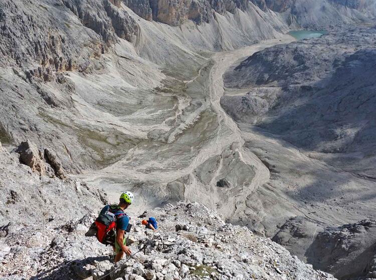 Klettersteige Rosengarten Tiefblick Abstieg