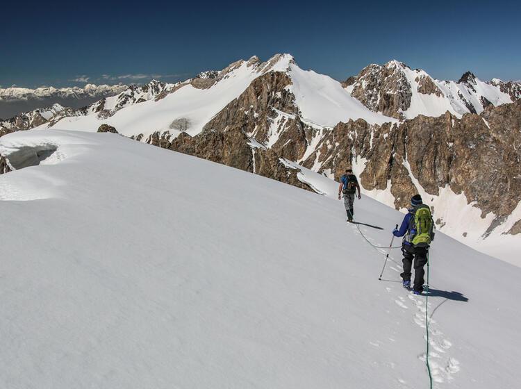 Kurz Vor Dem Gipfel Beim Trekking In Kirgistan