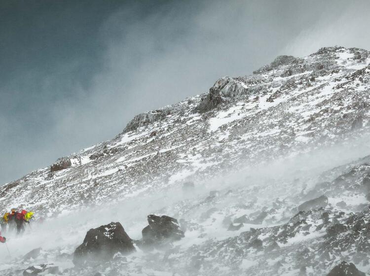 Kurz Vor Dem Gipfel Des Toubkal Bei Der Skitourenreise