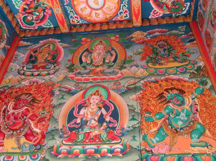 Mandala Malerei Im Kloster Nepal