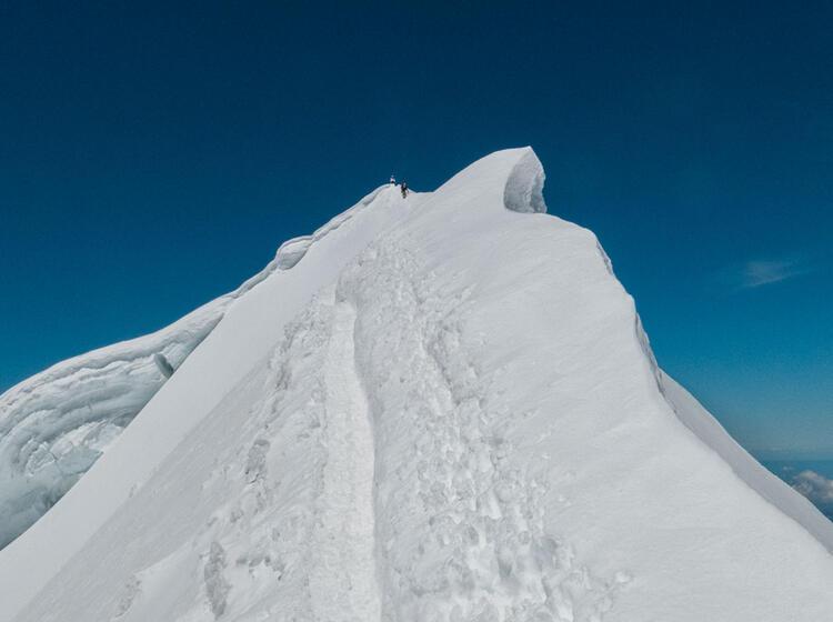 Moench Hochtour Mit Bergfuehrer Am Gipfelgrat