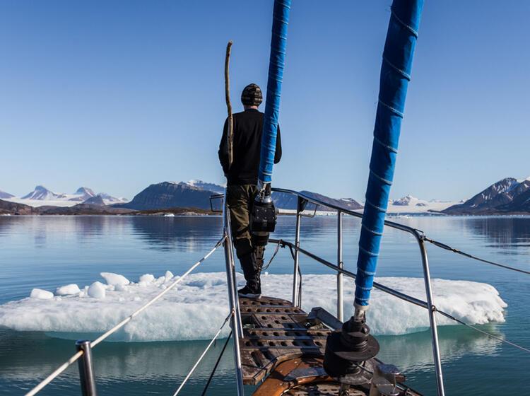 Packeis Voraus Auf Spitzbergen Beim Wandern