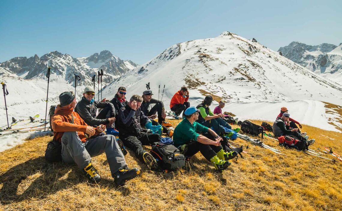 Pause Bei Den Skitouren In Kirgistan
