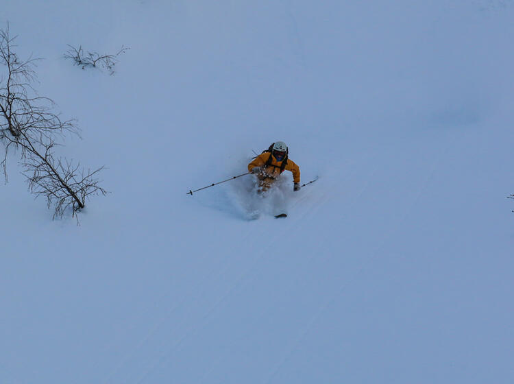 Powder Abfahrt Bei Den Skitouren Am Baikalsee