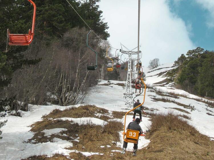 Rustikale Liftfahrt Auf Der Skitourenreise Elbrus
