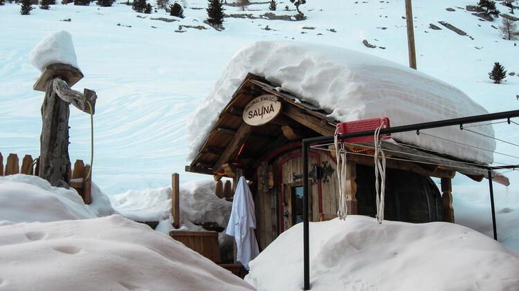 Sauna Auf Der Lavarella Huette In Den Dolomiten