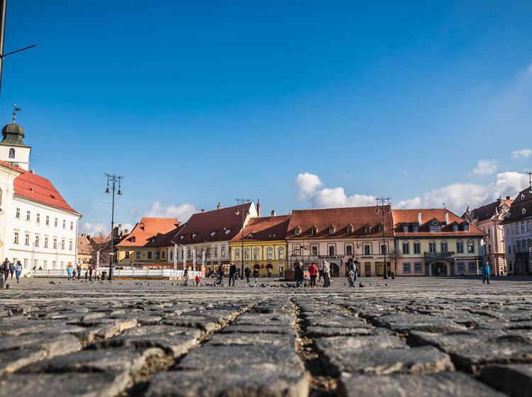Sibiu Stadtbesichtigung Auf Der Skitourenreise Rumaenien